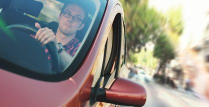 Man Driving Distracted